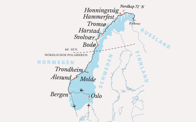 Karte Norwegen Hurtigruten.Kreuzfahrt Facettenreiches Norwegen Hurtigruten