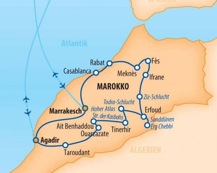 Rundreise - Höhepunkte Marokkos